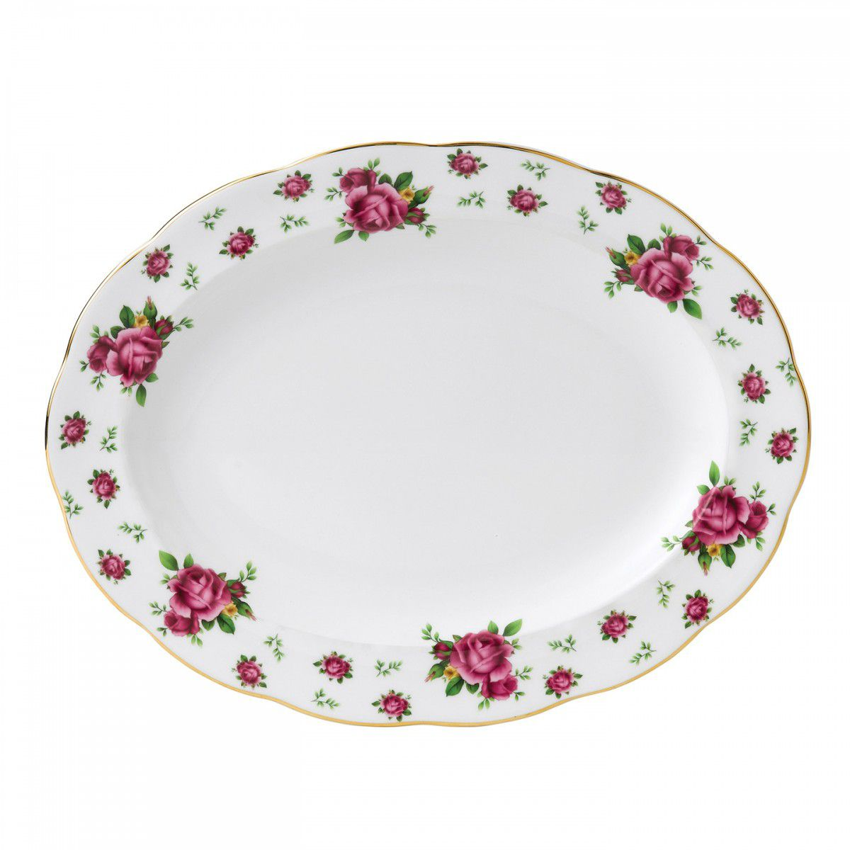 Platou Oval 33 Cm New Country Roses White