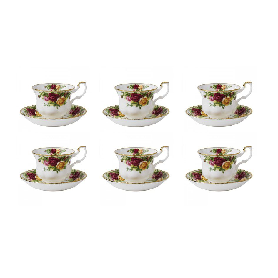 Royal Albert Set 6 cesti cu farfurii ceai Old Country Roses