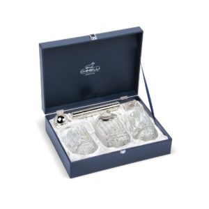 Set 2 pahare whisky cu decantor, recipient trabuc si cutter