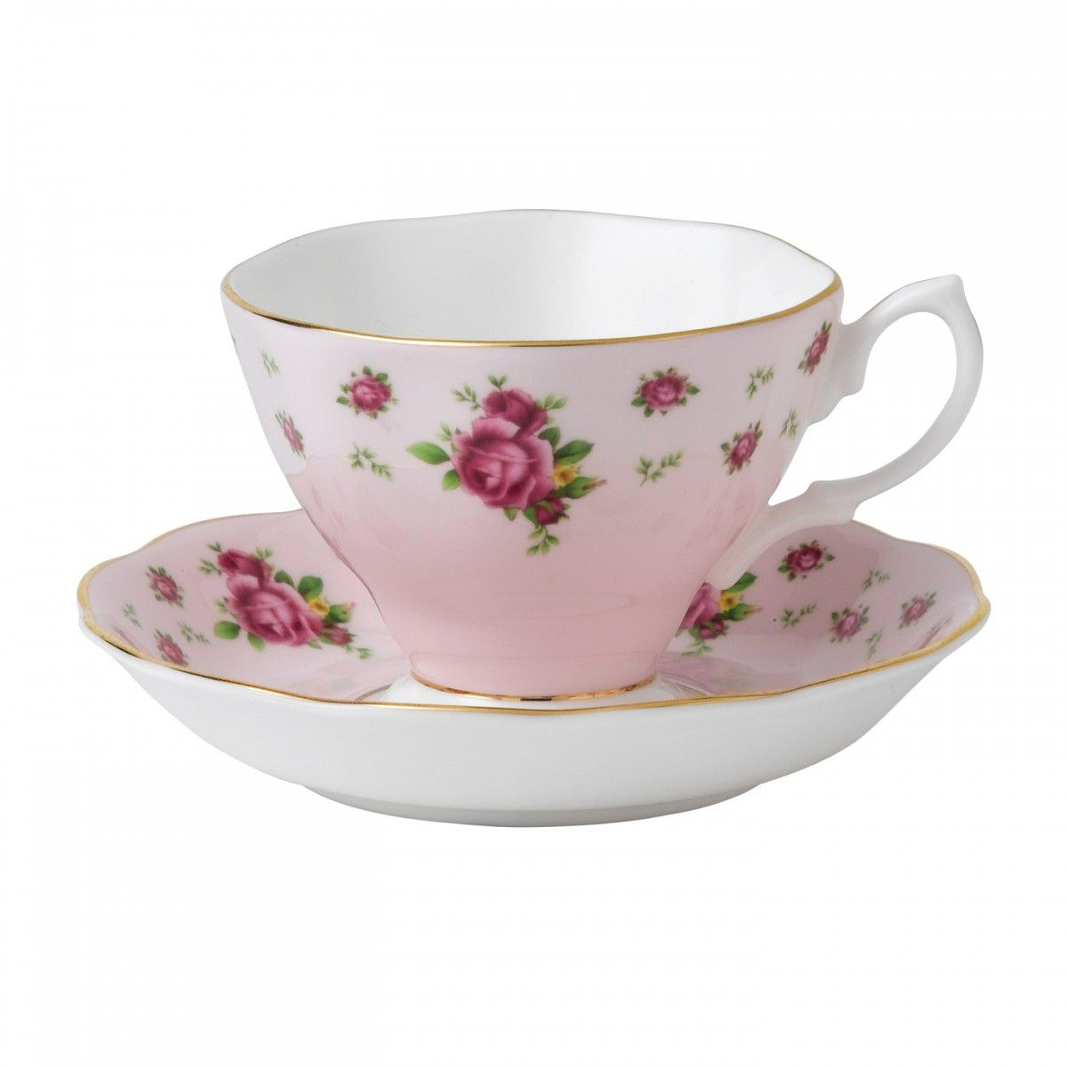 Ceasca cu farfurie ceai New Country Roses Pink